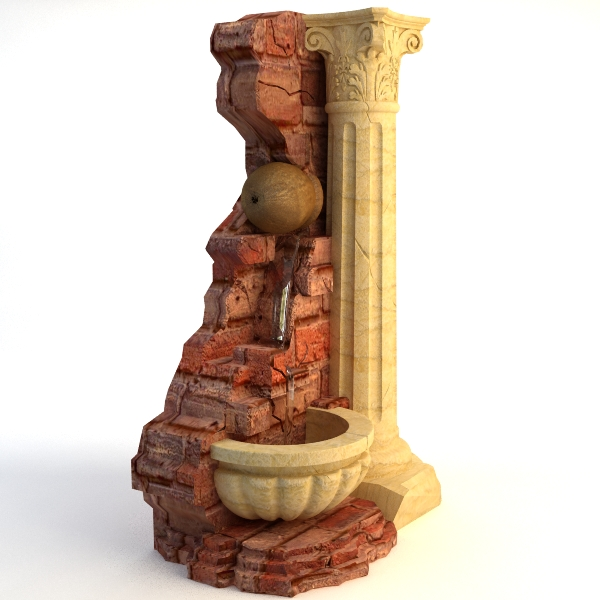 fountain and stone column 3d model 3ds max texture obj 114765