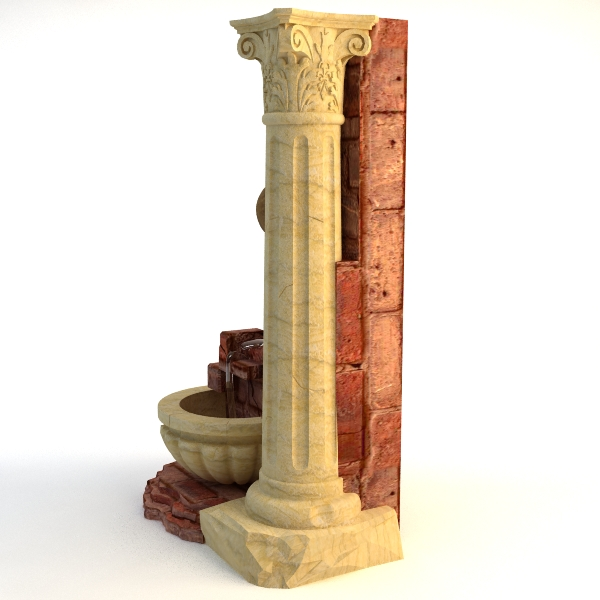 fountain and stone column 3d model 3ds max texture obj 114766