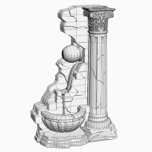 fountain and stone column 3d model 3ds max texture obj 114770