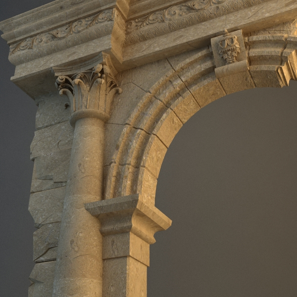 old stone column and arch 3d model max texture obj 114712