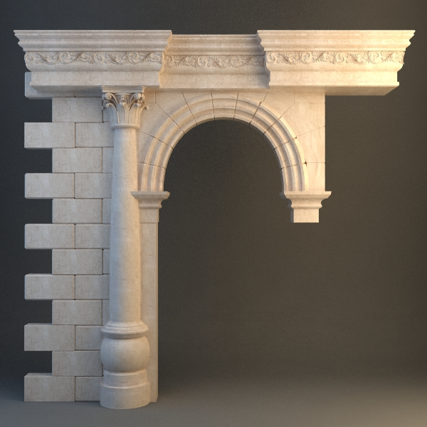 stone column and arch 3d model max fbx texture 114704
