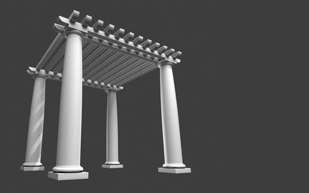 low high pergola roman tuscan garden park object 3d model 3ds dxf fbx c4d obj 104603