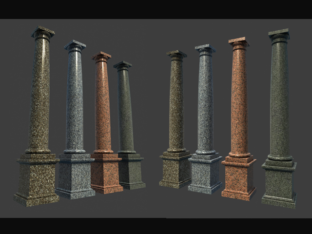 Marble Roman Tuscan Columns With Pedestal High Low 3d
