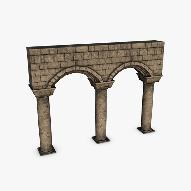 stone columns with arches module 3d model 3ds max fbx c4d obj 138733