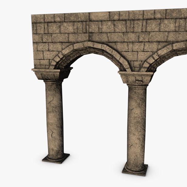 Stone Pillar Arch : Stone columns with arches module d model buy