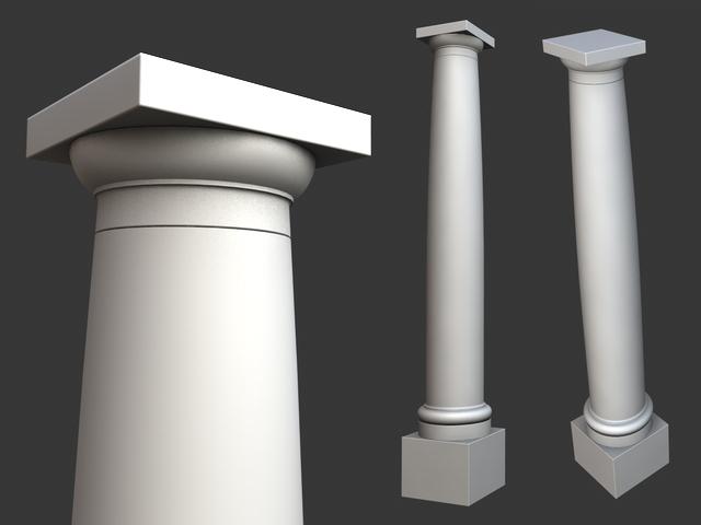 vitruvius tuscan roman order column with pedestal 3d model 3ds dxf fbx c4d obj 117695
