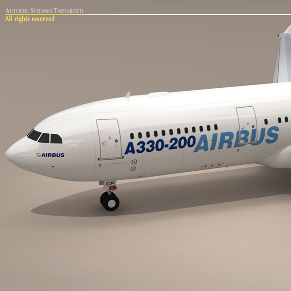 airbus a330-200 v1 3d model 3ds dxf c4d obj 116743