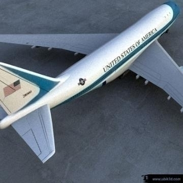 boeing 747 – airforce one 3d model 3ds lwo 77970
