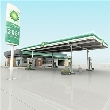 bp gas station with shop and carwash renderread 3d model 3ds max dxf dwg fbx c4d dae lwo 3dm hrc xsi  texture cod scn wrl wrz obj 111925