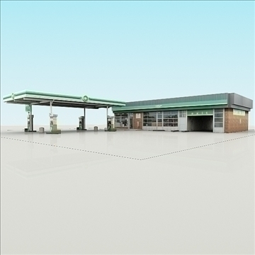 bp gas station with shop and carwash renderread 3d model 3ds max dxf dwg fbx c4d dae lwo 3dm hrc xsi  texture cod scn wrl wrz obj 111926