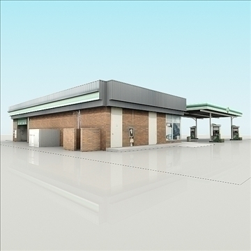bp gas station with shop and carwash renderread 3d model 3ds max dxf dwg fbx c4d dae lwo 3dm hrc xsi  texture cod scn wrl wrz obj 111927