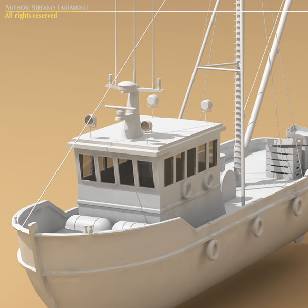fishing boat 3d model 3ds dxf c4d obj 77741