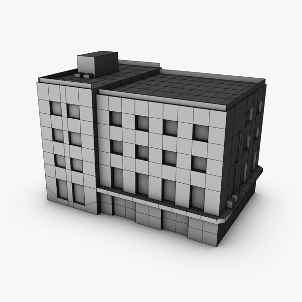 low poly building 3d model 3ds max fbx c4d obj 139969