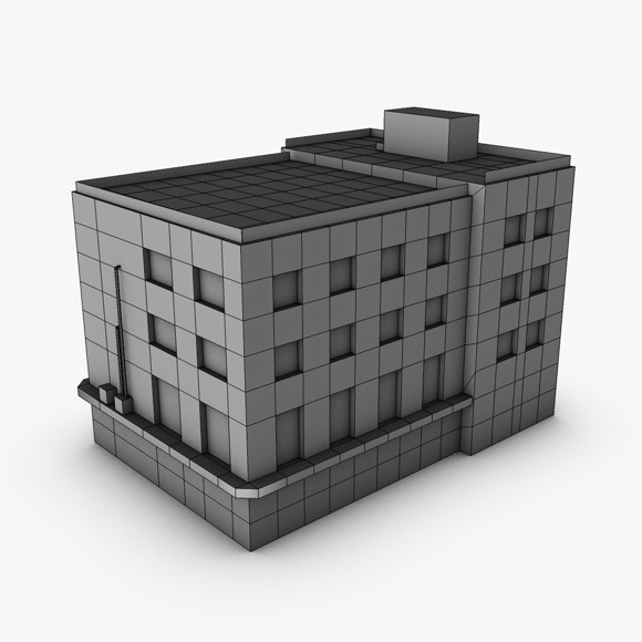 low poly building 3d model 3ds max fbx c4d obj 139971
