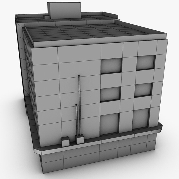 low poly building 3d model 3ds max fbx c4d obj 139972