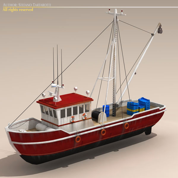 old fishing boat 3d model 3ds dxf c4d obj 116364