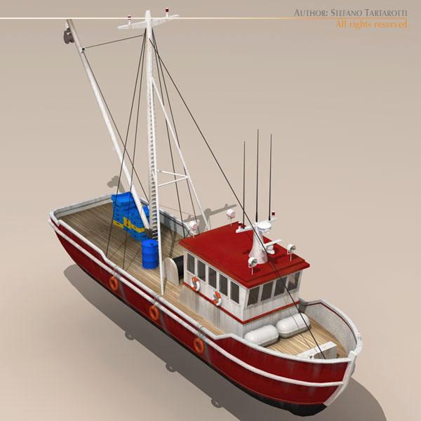 vecā zvejas laiva 3d modelis 3ds dxf c4d obj 116366