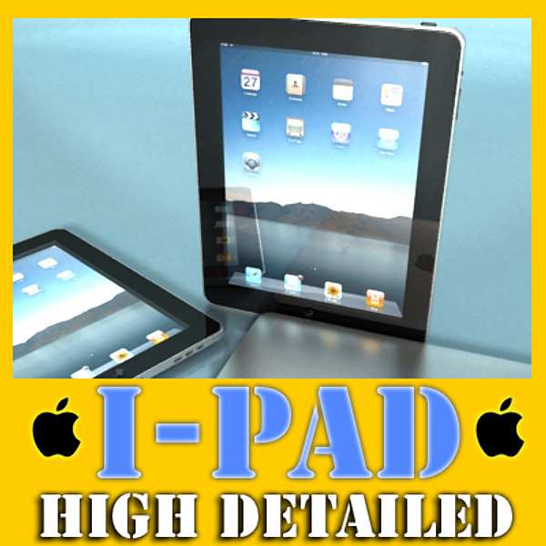 realistic apple ipad high detail 3d model 3ds max fbx obj 129590