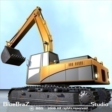 excavator 3d model 3ds dxf c4d obj 89156