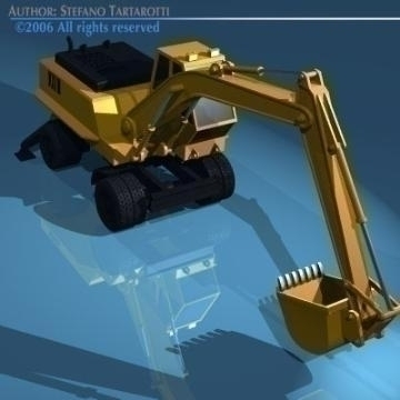 excavator with wheels 3d model 3ds dxf other obj 78310