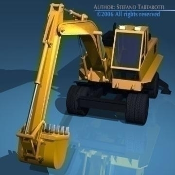 excavator with wheels 3d model 3ds dxf other obj 78312