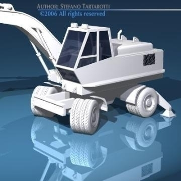 excavator with wheels 3d model 3ds dxf other obj 78316