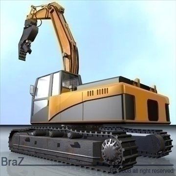 hydraulic excavators 3d model 3ds dxf c4d obj 88920
