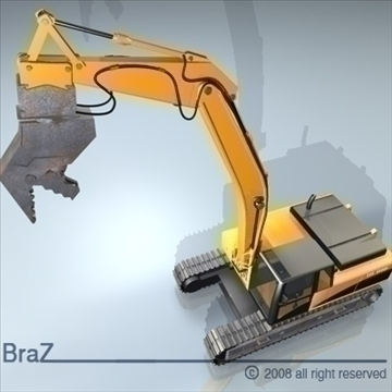 hydraulic excavators 3d model 3ds dxf c4d obj 88922