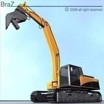 hydraulic excavators 3d model 3ds dxf c4d obj 88925