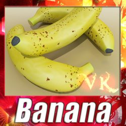 3D Model Banana High Detail ( 122.29KB jpg by VKModels )