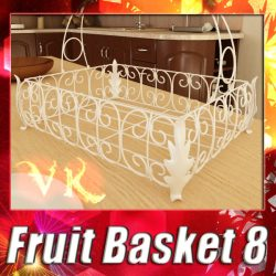 3D Model Fancy Metal Fruit Basket 08 ( 143.94KB jpg by VKModels )