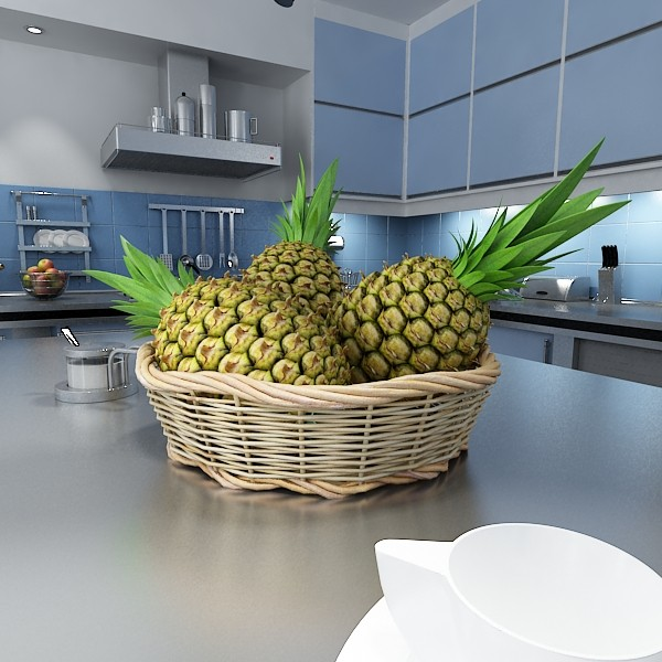 3D Model Pineapples in Wicker Basket 10 ( 84.41KB jpg by VKModels )