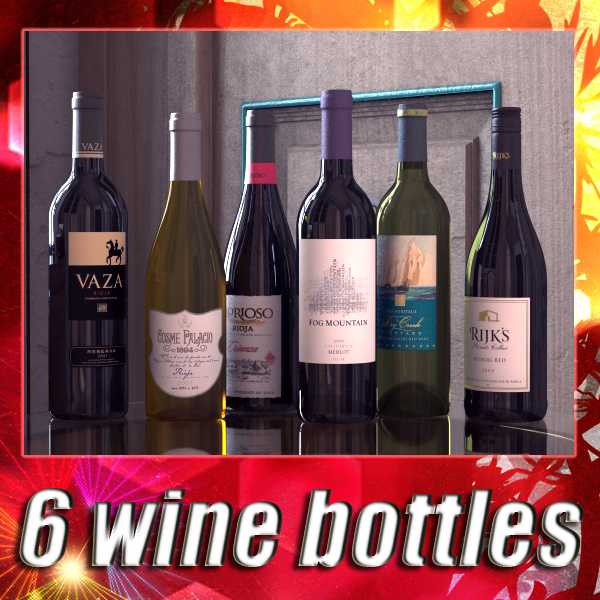 6 wine bottles collection 3d model 3ds max fbx obj 145477
