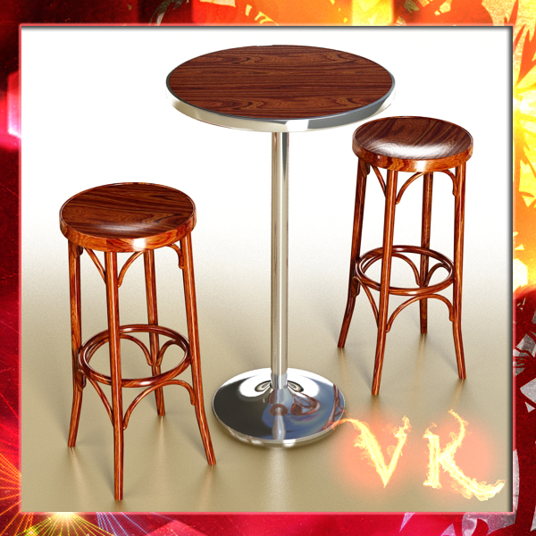 bar table and stool 3d model 3ds max fbx obj 148182