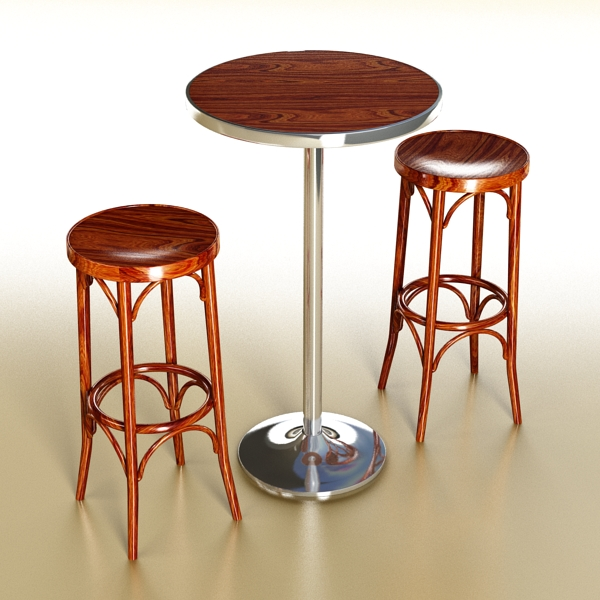 bar table and stool 3d model 3ds max fbx obj 148183