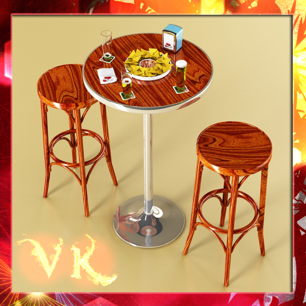 bar table, stool, becks beers, nacho plate, and na 3d model 3ds max obj 148202