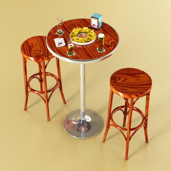 bar table, stool, becks beers, nacho plate, and na 3d model 3ds max obj 148203