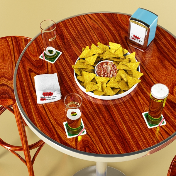 bar table, stool, becks beers, nacho plate, and na 3d model 3ds max obj 148204