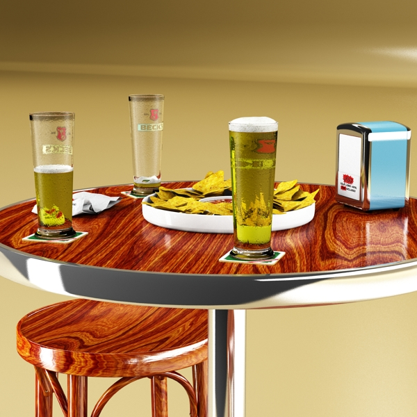 bar table, stool, becks beers, nacho plate, and na 3d model 3ds max obj 148205