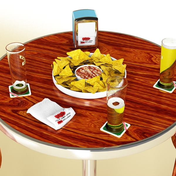 bar table, stool, becks beers, nacho plate, and na 3d model 3ds max obj 148206