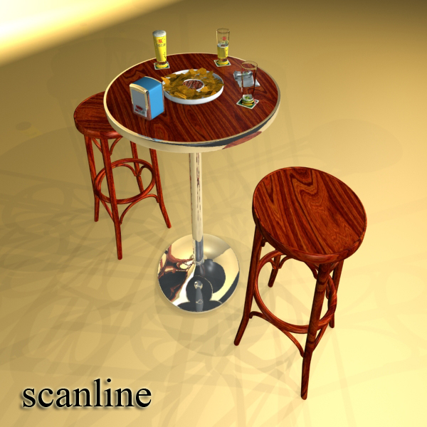 bar table, stool, becks beers, nacho plate, and na 3d model 3ds max obj 148207