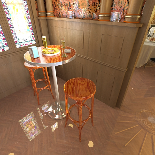 bar table, stool, becks beers, nacho plate, and na 3d model 3ds max obj 148208
