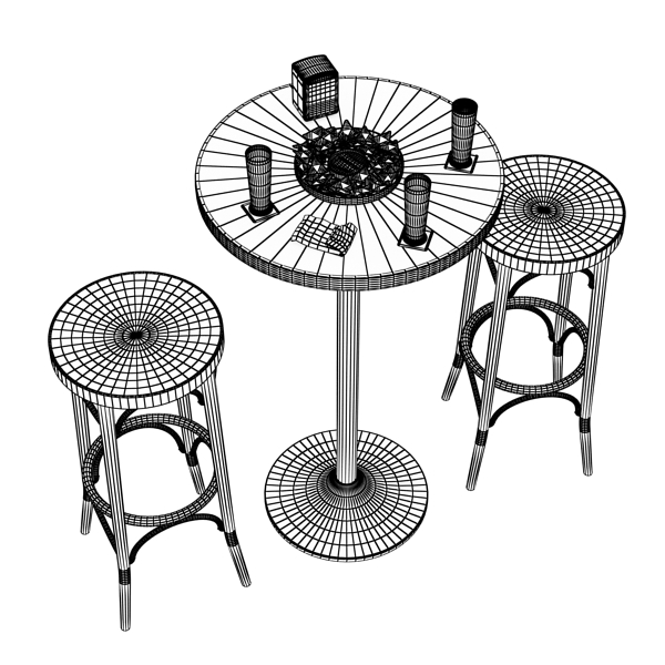 bar table, stool, becks beers, nacho plate, and na 3d model 3ds max obj 148209