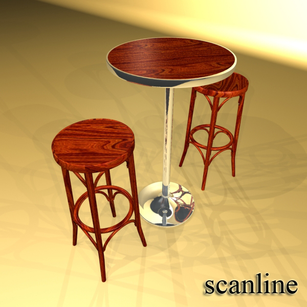 Bar Table and Stool ( 224.27KB jpg by VKModels )