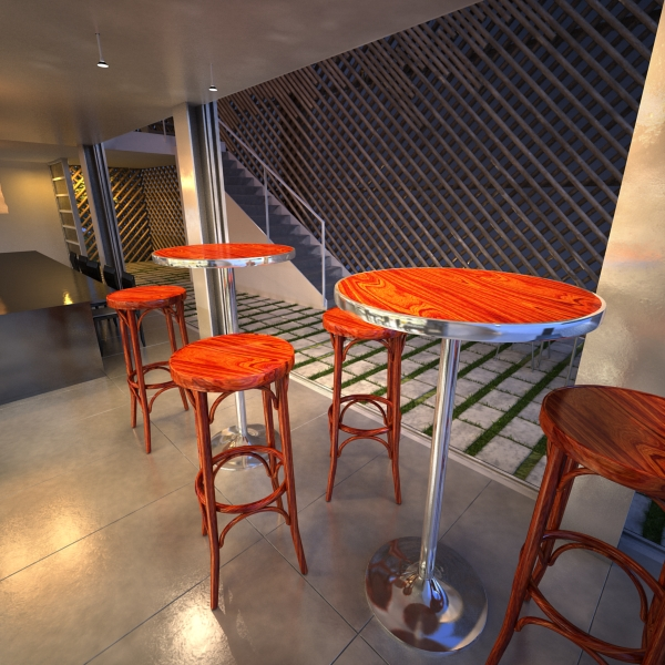 Bar Table and Stool ( 291.01KB jpg by VKModels )