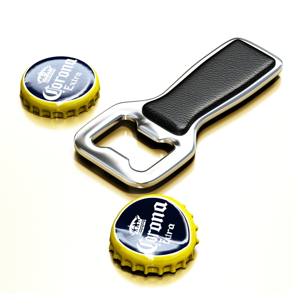 bottle opener and caps. 3d model 3ds max fbx obj 141534
