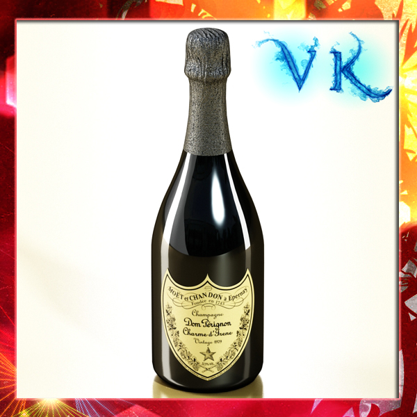 champagne dom perignon bottle 3d model 3ds max fbx obj 143496