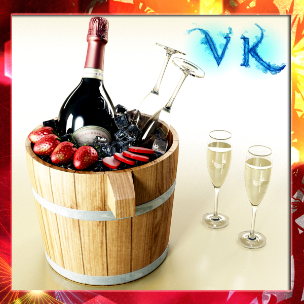 champagne set 2 – bottle, flute, strawberry and wo 3d model 3ds max fbx obj 144471