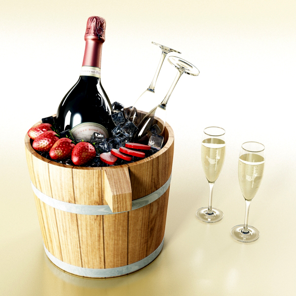 champagne set 2 – bottle, flute, strawberry and wo 3d model 3ds max fbx obj 144472