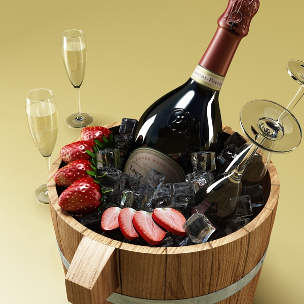champagne set 2 – bottle, flute, strawberry and wo 3d model 3ds max fbx obj 144475